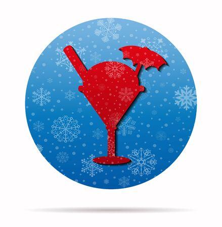 christmas pudding: sundae christmas icon in circle Illustration