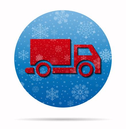 ícone de natal do caminhão no círculo Ilustración de vector