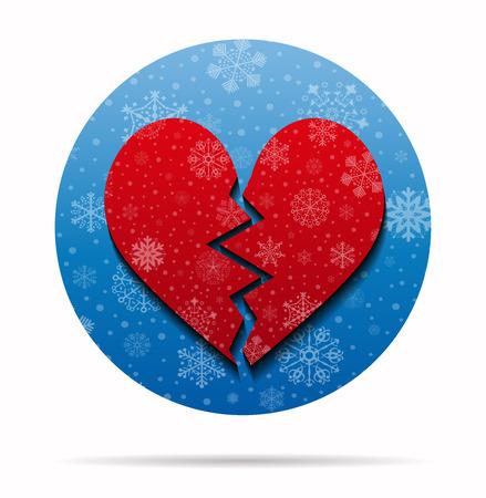 broken heart  christmas icon in circle