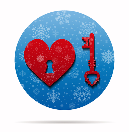 ticker: key heart  christmas icon in circle