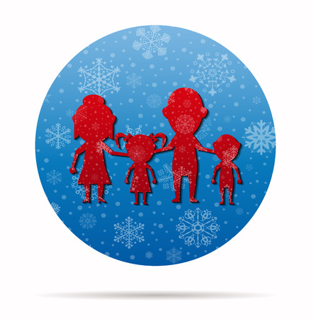 dolls family together christmas icon in circle Illustration