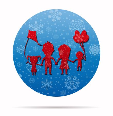 family playing dolls christmas icon in circle