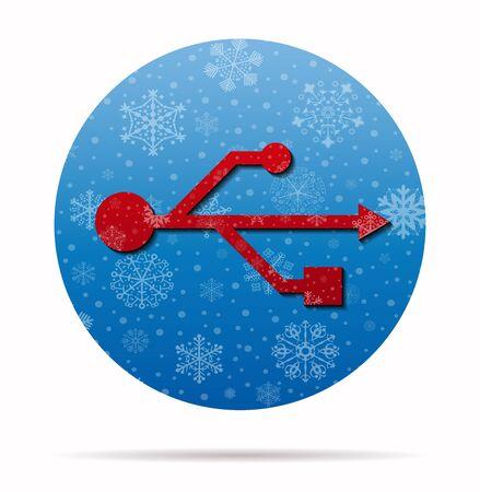usb christmas icon in circle Illustration