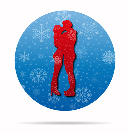 sweethearts: kissing couple christmas icon in circle