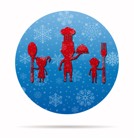 family eating: family eating christmas icon in circle