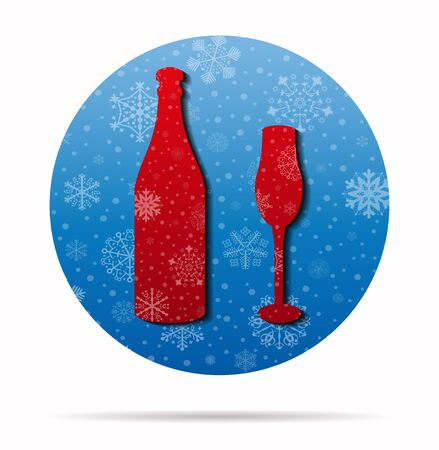bottle and cup christmas icon in circle