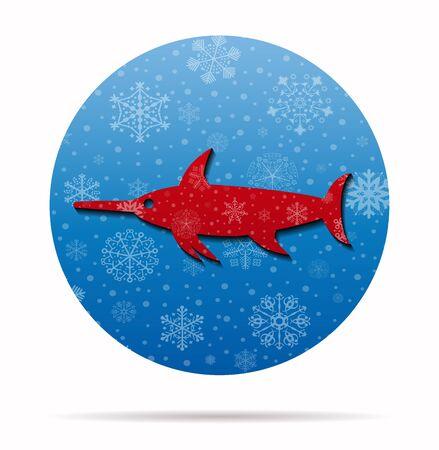 pez espada: el pez espada icono de la Navidad en el círculo