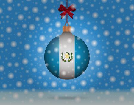 snowfall and snowball with flag of guatemala