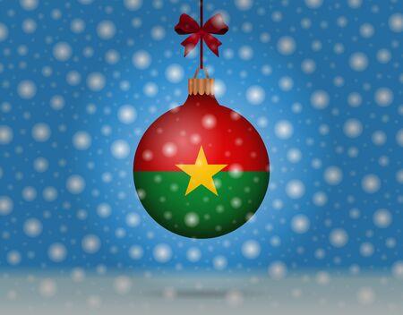 boule de neige: chutes de neige et boule de neige avec le drapeau de burkina Illustration