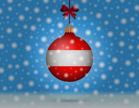 snowfall and snowball with flag of austria