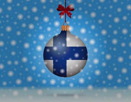 boule de neige: chutes de neige et boule de neige avec le drapeau de Filand Illustration