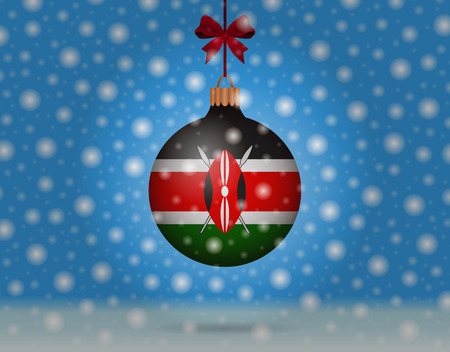 snowfall and snowball with flag of kiribati Illustration
