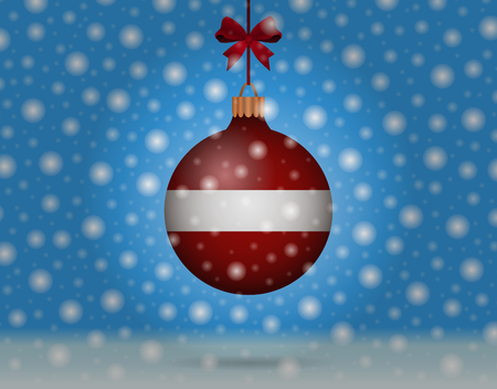 snowfall and snowball with flag of latvia Illustration