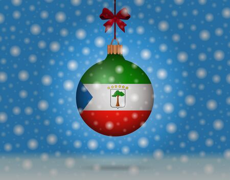 snowfall and snowball with flag of equatorial guinea