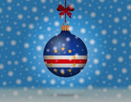 snowfall and snowball with flag of cape verde