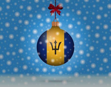 snowfall and snowball with flag of barbados Illustration