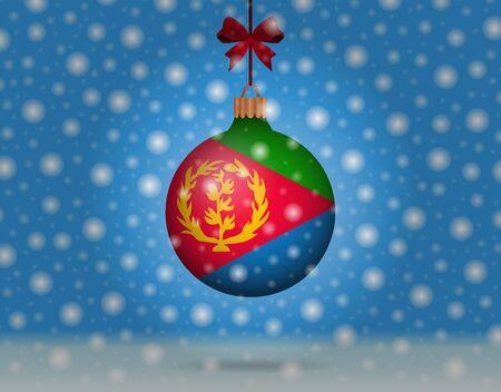 chutes de neige et boule de neige avec le drapeau de l'érythrée
