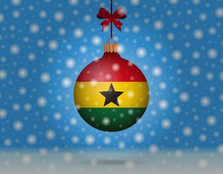 snowfall and snowball with flag of ghana