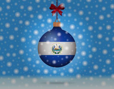 bandera de el salvador: las nevadas y la bola de nieve con la bandera de El Salvador