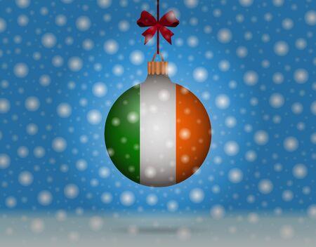 ireland flag: snowfall and snowball with flag of ireland