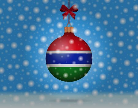snowfall and snowball with flag of gambia