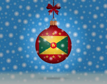 snowfall and snowball with flag of grenada Illustration