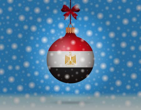 bandera de egipto: las nevadas y la bola de nieve con la bandera de Egipto
