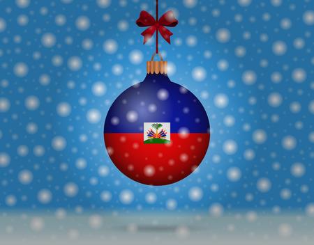 snowfall and snowball with flag of haiti