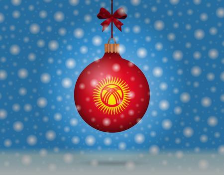 boule de neige: chutes de neige et boule de neige avec le drapeau de kyrgyzstan Illustration