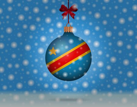 snowfall and snowball with flag of congo