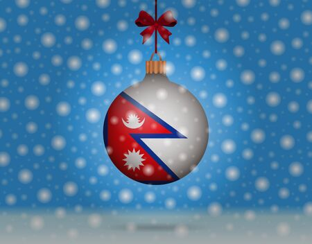 snowfall and snowball with flag of nepal