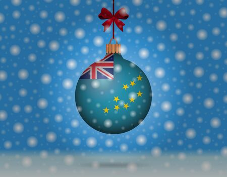 tuvalu: snowfall and snowball with flag of tuvalu