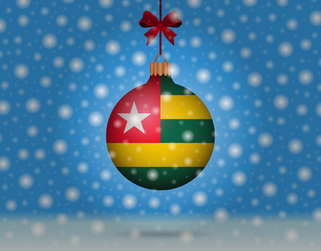 togo: snowfall and snowball with flag of togo Illustration