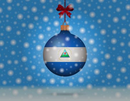 nicaragua: snowfall and snowball with flag of nicaragua Illustration