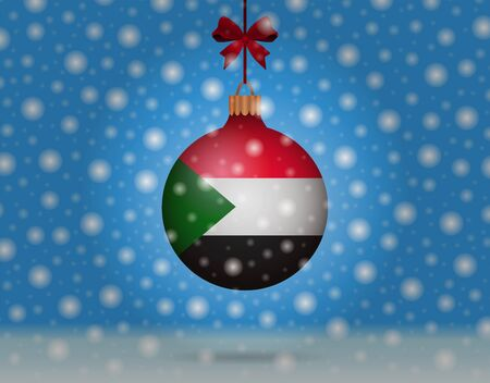 boule de neige: snowfall and snowball with flag of sudan