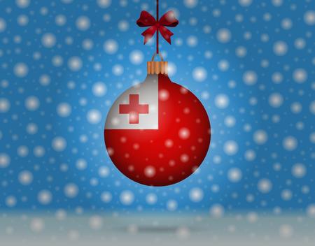 tonga: snowfall and snowball with flag of tonga