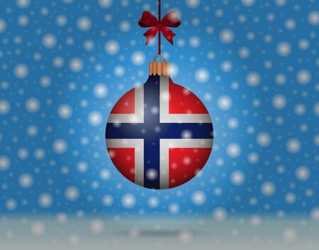 norway flag: snowfall and snowball with flag of norway