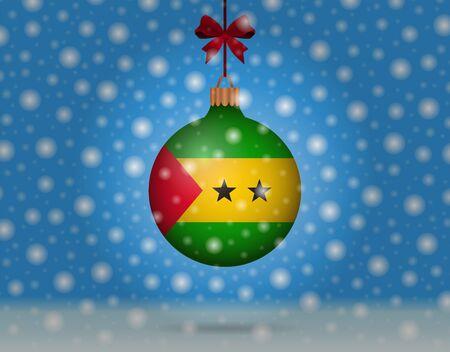 snowfall and snowball with flag of sao tome Illustration
