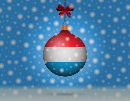 boule de neige: chutes de neige et boule de neige avec le drapeau du luxembourg Illustration