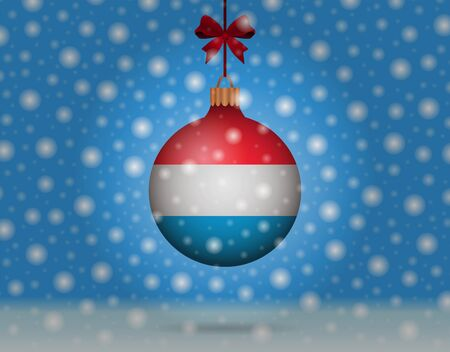 luxembourg: snowfall and snowball with flag of luxembourg