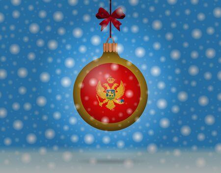 boule de neige: chutes de neige et boule de neige avec le drapeau du monténégro