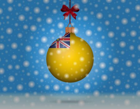 boule de neige: chutes de neige et boule de neige avec le drapeau de Niue Illustration