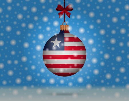 snowfall and snowball with flag of liberia Illustration