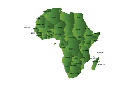 gambia: green map of africa Illustration