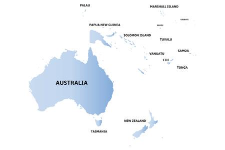 oceania: blue map of oceania