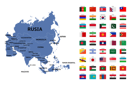 asia map and flags Illustration