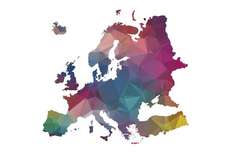 low poly europe map Illustration