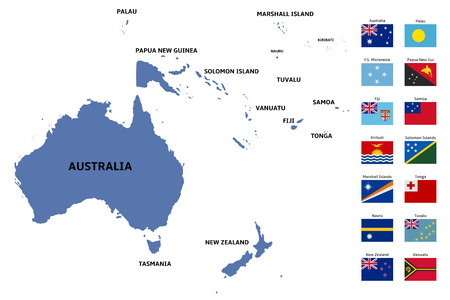 oceania: oceania map and flags
