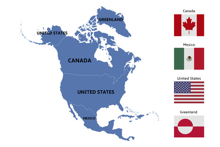 North America Map And Flags Royalty Free Cliparts Vectors And