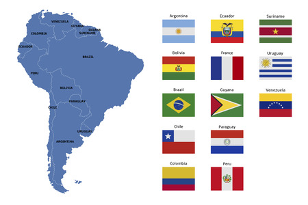 south america map and flags
